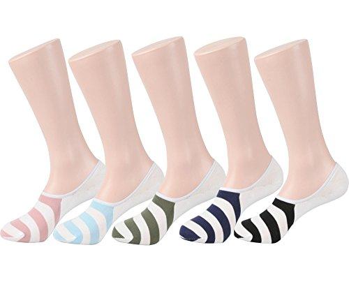 Men's No-show Casual Liner Socks Non-slip Heel Grip (One Size : Regular, 5Pair-Stripe)