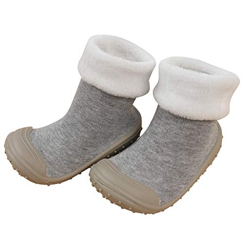 OCEAN-STORE Toddler Boys Puppy Cotton Warm Winter Non-Slip House Slipper Kids Athletic Running Shoes Knit Breathable Lightweight Walking Tennis Sneakers for girlsGray2.5-3 Years ()