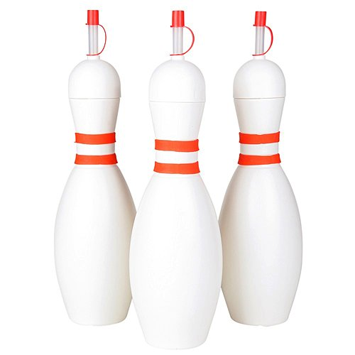 Fun Express - Bowling pin sipper cups w/straws - Water Bottles (1-Pack of 12) by Fun Express