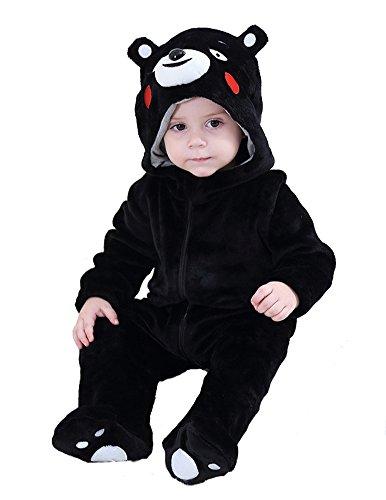 Tonwhar Baby Animal Onesie Hooded Costume (100 Age 18-24 Months, Black Bear)