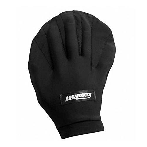 AquaJogger Webbed Pro Water Fitness Gloves (Black, Small)