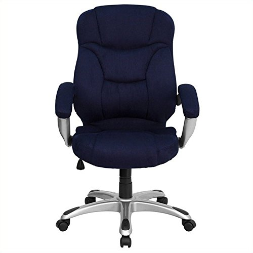 Flash Furniture High Back Navy Blue Microfiber Contemporary Executive Swivel Chair with Arms