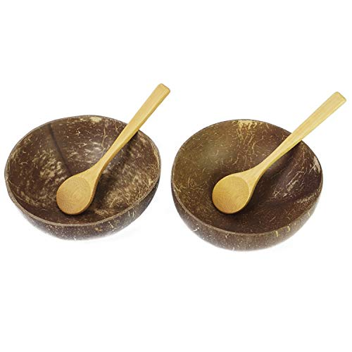 Preminum Coconut Bowls with Spoons by BeeGreeny (Set of 2) - Polished With Coconut Oil - Handmade, Vegan, Natural, Eco Friendly, Reusable Bowl for Breakfast, Serving, Decoration, Party