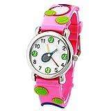 Jian Ya Na Cute 3D Cartoon Digital Silicone Wristwatches Time Teacher Birthday Gifts for Aged 3- 8 Girls Boys (3D Tennis - Pink)