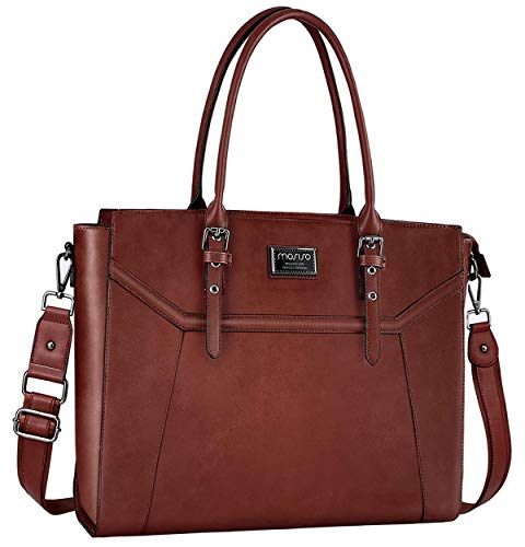 Briefcase 17 Laptop Tote Bag - MOSISO Laptop Tote Bag for Women (Compatible 15.6-17 Inch MacBook&Notebook), Premium PU Leather Business Work Travel Shoulder Handbag with Thick Shockproof Compartment&Adjustable Top Handle, Brown