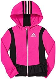 adidas Little Girls\' Twirl Trainer Jacket, Pink Glo, 4