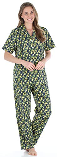 - Sleepyheads Women's Sleepwear Cotton Short Sleeve Button-Up Top and Pants Pajama Set (SHCP1624-5030-SML) Lemons
