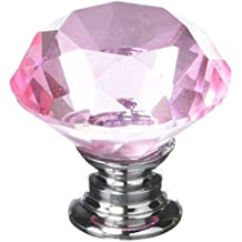 IQUALITE 12pcs Diamond Shape Crystal Glass 30mm Cabinet Drawer Knob Pink
