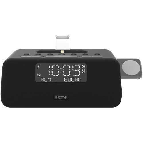 Alarm Dock (iHome iPLWBT5B Bluetooth Dual Alarm FM Clock Radio w/Speakerphone & Triple Charging Lightning Dock for iPhone 7/7Plus 6/6Plus 5/SE w Integrated Apple Watch Charger and USB Charger for any USB Device)