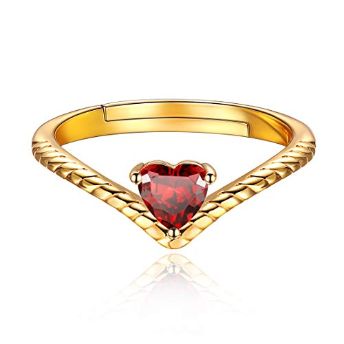 Jul Birthstone Promise Rings Red Crystal Jewelry Love Heart 18K Gold Plated Sterling Silver Eternity Bands Engagement Rings for Her