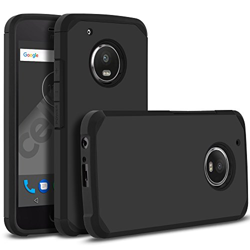 Cover Pastel Colored (Moto G5 Plus Case, Moto X 2017 Case, Celljoy [Liquid Armor] Motorola XT1687 Slim Fit [Dual Layer Series] TPU Protective Hybrid [[Shockproof]] - Thin Hard Cover (Matte Black))