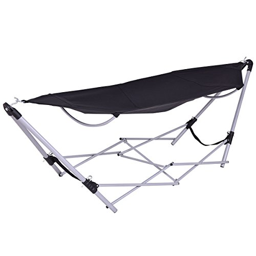 - GJH One Hammock Stand Portable Folding Beach Lounge Camping Bed Steel Frame Black