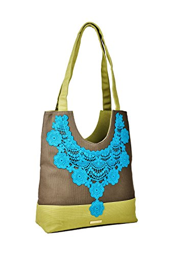 Designer Premium Quality Tote/Handbag - Boutique Style Zipper Closure (Tan Green) ()