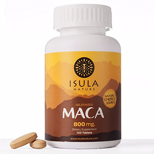 Isula Nature 100% Peruvian Maca Root Powder Premium Organic Gelatinized 800mg x 100 Tablets - Root 100 Tablets