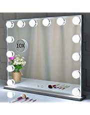 Hollywood Mirror, Lighted Vanity Makeup Mirror with Lights, 14pcs Led Bulbs Dressing Tabletop or Wall Mounted Mirror with A Magnetic 10x Magnifying Mirror ()