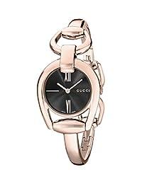 Gucci Horsebit Black Dial Rose Gold PVD Ladies Watch