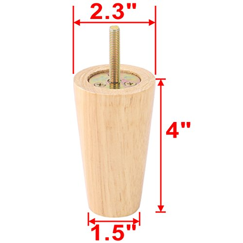 uxcell Sofa Leg 4 Inch, Round wooden, Furniture Closet Bed Feet Replacement Threaded M8 Bolt, Wood Color set of 4