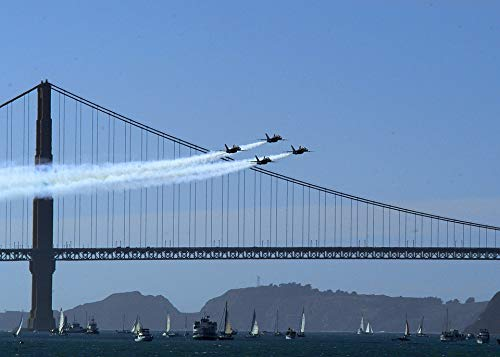 Home Comforts Canvas Print Air Show Blue Angels Aircraft Formation Military Vivid Imagery Stretched Canvas 32 x 24