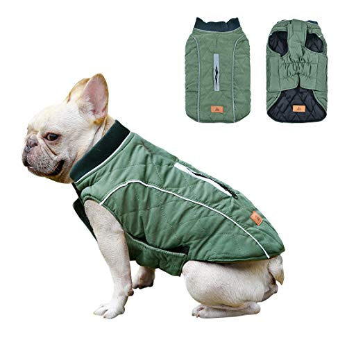 Dog Jacket Waterproof Pet Coat Reversible Windproof Cat Sweater Reflective Strips Winter Warm Puppy Vest for Small Medium Large Dogs Green XL