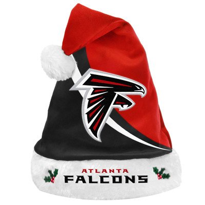 Forever Collectibles NFL Atlanta Falcons Santa Hat, One Size, Black -