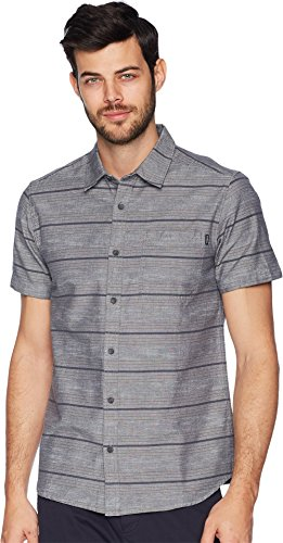 O'Neill Men's Culprit Short Sleeve Woven Shirt, Dark Blue, S (Yarn Stripe Shirt Dye Woven)