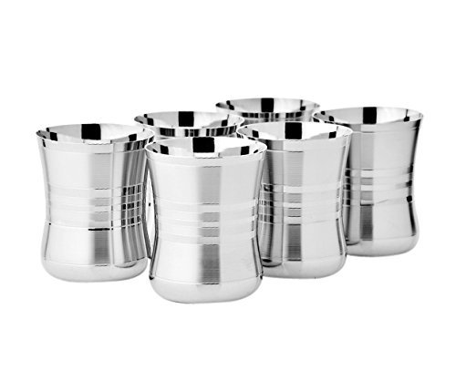Jagani™ Stainless Steel Designer Shape Glass, Set of 6 pcs. Silver Touch Finish, 250ml, Silver Colour Glassware & Drinkware at amazon