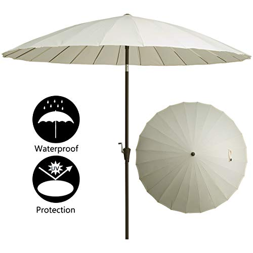 TAGI 9 Feet Patio Umbrella, Round Aluminum Pole 24 Fiberglass Rib Outdoor Umbrella,Crank Lift, 3-Way Tilt, Beige