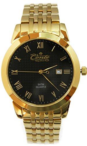 M.Conte Herren-Armbanduhr Analog Quarzwerk Edelstahl Gold Schwarz Conte-Unisex Gold
