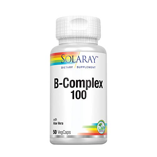 B-100 Complex Super (Solaray® Vitamin B-Complex 100 | Supports Healthy Hair & Skin, Immune System Function, Blood Cell Formation & Energy Metabolism | 50 VegCaps)