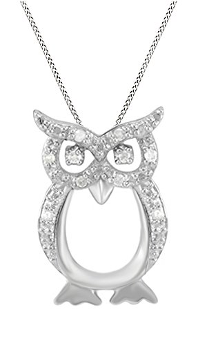 Jewel Zone US Natural Diamond Owl Pendant Necklace 14k White Gold Over Sterling Silver (1/10 Ct) ()