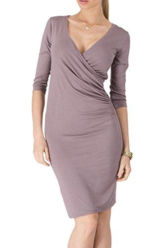 ACHICGIRL Fashion Half Sleeve Deep-V Body-con Dress Coffee