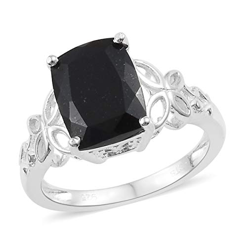 (925 Sterling Silver Cushion Black Tourmaline Engagement Ring for Women Cttw 2.5)