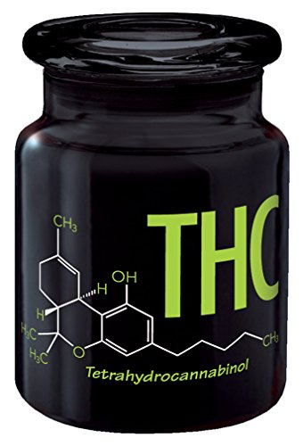 Glass Stash Jar THC Chemical Compound, Pot Weed Marijuana Storage Container, 6 oz., Airtight