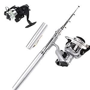 Mini Fishing Tackle Pocket Pen Kit Rod Pole and Spin Reel Combos Wheel Tool