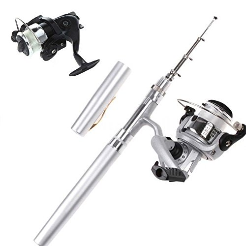 Mini Fishing Tackle Pocket Pen Kit Rod Pole and Spin Reel Combos Wheel Tool ()