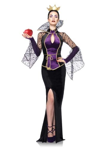 Leg Avenue Disney 3Pc.Evil Queen Costume Includes Dress Belt and Crown Head Piece, Black, (The Evil Queen Snow White Costume)