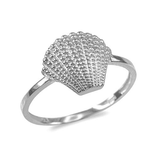 LABLINGZ Dainty 14k White Gold Seashell Conch Ladies Ring (Size 8.25) 14k Gold Seashell Ring