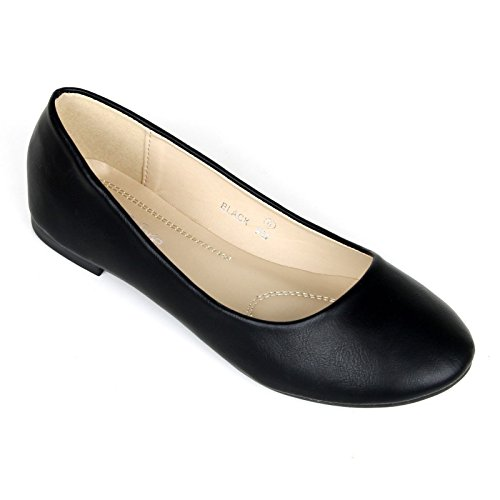 Womens Cute Casual Comfort Slip On Round Toe Ballet Flat Shoes Black VlL1pRgQT