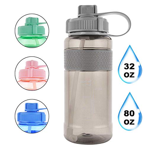 GTI 32 oz Sports Water Bottle with Straw, BPA Free Leak Proof Wide Mouth Portable Water Jugs for Fitness and Outdoor Enthusiasts, Plastic Drink Water Bottle with Scale Strap - Gray