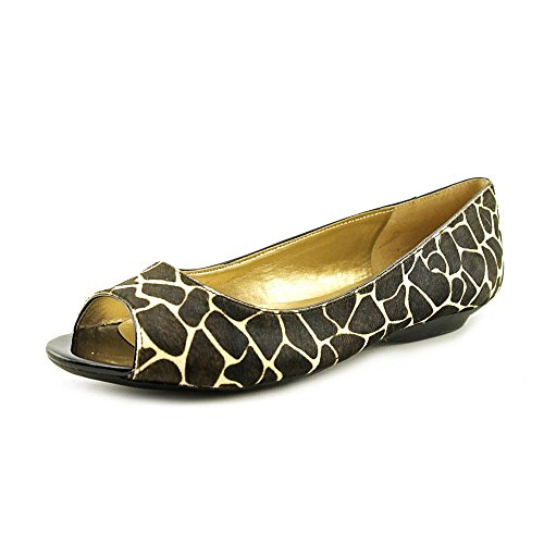 Bandolino Wilimena Womens Size 8.5 Black Open Toe Hair Fur Flats Shoes