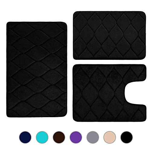 Colorxy Memory Foam Bathroom Rugs - Water Absorbent, Super Soft Non-Slip Bath Mat, Washable Ogee Design Bathroom Mat Set of 3, Small/Large/Contour, Black