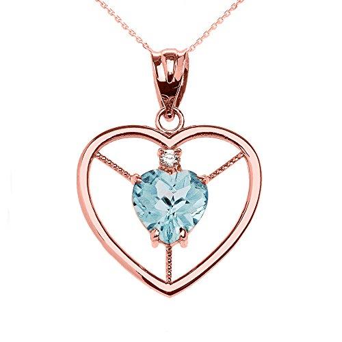Collier Femme Pendentif Élégant 14 Ct Or Rose Diamant et Mars Pierre De Naissance Bleu Clair Agua Cœur Solitaire (Livré avec une 45cm Chaîne)