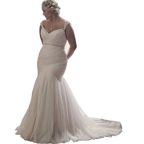 Chady Plus Size Mermaid Wedding Dresses for bride 2017 V-Neck Lace-up Ball Gown Wedding dreses by Chady