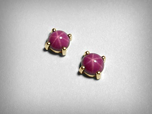 Special Order. 6mm Round Created Star Ruby Earrings in 14K Yellow Gold A Pink Red color
