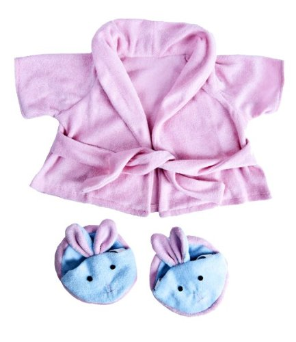 Pink Bathrobe with Bunny Slippers Teddy Bear Clothes Outfit Fits Most 14