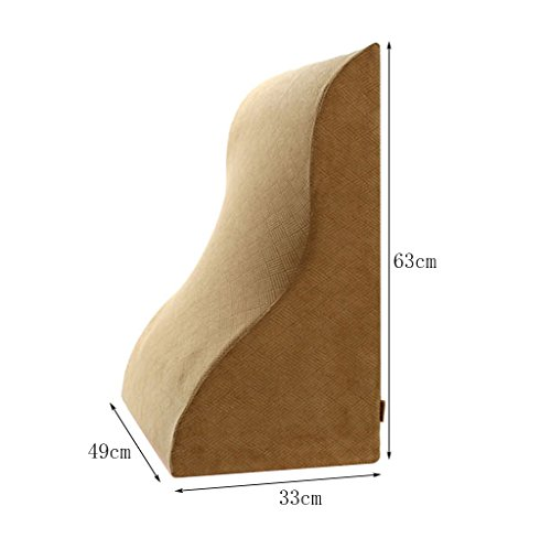 HTDZDX Back Cushion Memory Foam Triangle Bed Pillow Bed by TV Big Bed Bed Bedroom Study Lazy Back Cushion Washable (Color : Camel)