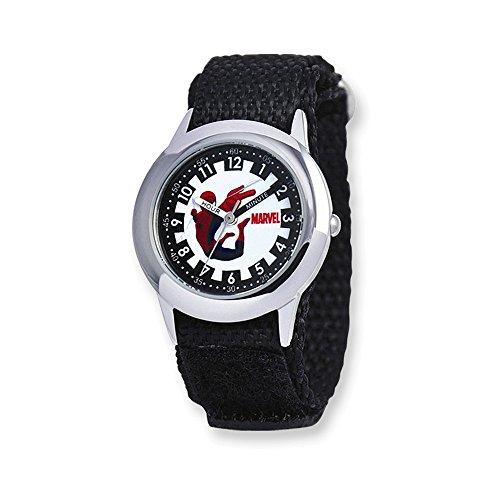 Marvel Spiderman Black Velcro Band Time Teacher Watch