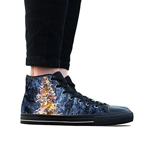 Sneakers, Custom Christmas Tree Hoge Top Heren Zwart Klassieke Casual Mode Sport Canvas Schoenen