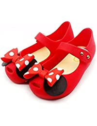 Toddler Girls Mary Jane Flat Shoes White Dots Kid's Sandals A Bow Tie