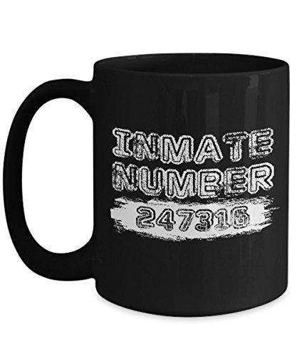 Jail Prisoner Costume - Shirt White Prisoner Funny Jail Halloween Coffee Mug 15oz Black